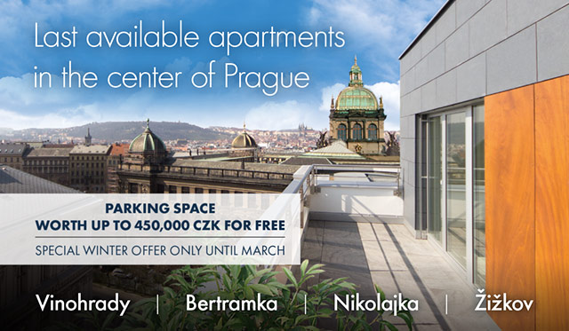 Last available apartments in the center of Prague - parking space worth up to 450,000 czk for free. Special winter offer only until march.